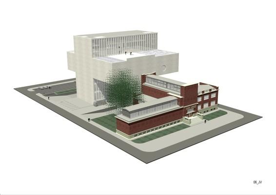 Návrh dostavby Dopmu umění v ostravě / (c) Josef Pleskot
