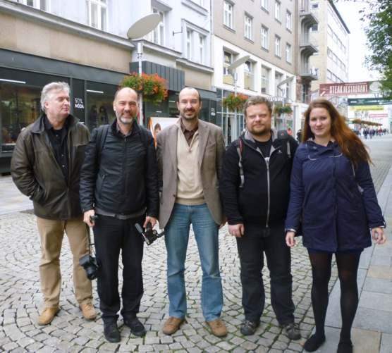 Michele Stavagna a Carsten Krohn si se zájmem prohlídli OD Bachner v Ostravě / foto Kabinet architektury 2014